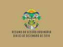 RESUMO DA SESSÃO ORDINÁRIA DO DIA 03 DE DEZEMBRO DE 2019