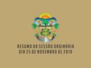 RESUMO DA SESSÃO ORDINÁRIA DO DIA 25 DE NOVEMBRO DE 2019