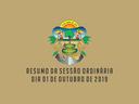 RESUMO DA SESSÃO ORDINÁRIA DO DIA 01 DE OUTUBRO DE 2019