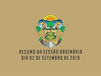 RESUMO DA SESSÃO ORDINÁRIA DO DIA 02 DE SETEMBRO DE 2019