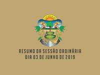 RESUMO DA SESSÃO ORDINÁRIA DO DIA 03 DE JUNHO DE 2019