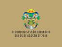 RESUMO DA SESSÃO ORDINÁRIA DO DIA 05 DE AGOSTO DE 2019