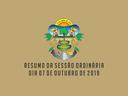 RESUMO DA SESSÃO ORDINÁRIA DO DIA 07 DE OUTUBRO DE 2019