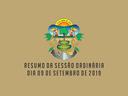 RESUMO DA SESSÃO ORDINÁRIA DO DIA 09 DE FEVEREIRO DE 2019