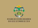 RESUMO DA SESSÃO ORDINÁRIA DO DIA 10 DE SETEMBRO DE 2019