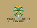 RESUMO DA SESSÃO ORDINÁRIA DO DIA 18 DE NOVEMBRO DE 2019