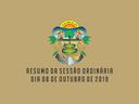 RESUMO DA SESSÃO ORDINÁRIA DO DIA 08 DE OUTUBRO DE 2019