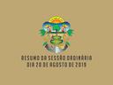 RESUMO DA SESSÃO ORDINÁRIA DO DIA 20 DE AGOSTO DE 2019