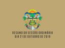 RESUMO DA SESSÃO ORDINÁRIA DO DIA 21 DE OUTUBRO DE 2019